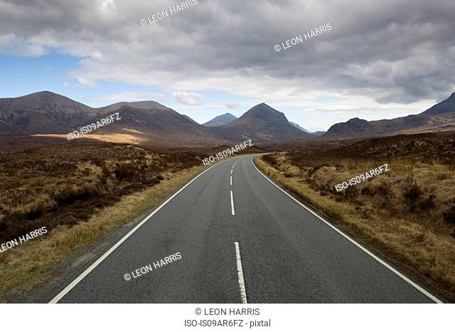 Road leading through Cuillin mountains, Sligachan, Isle of Skye, Scotland