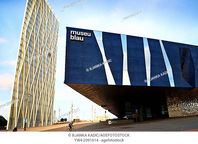 Museu Blau - Blue Museum and Telefonica Tower, Barcelona, Catalonia, Spain
