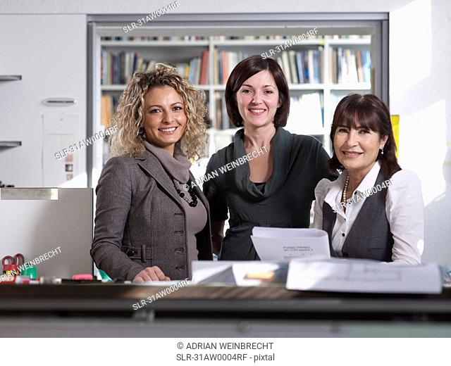 Three female colleagues in Office