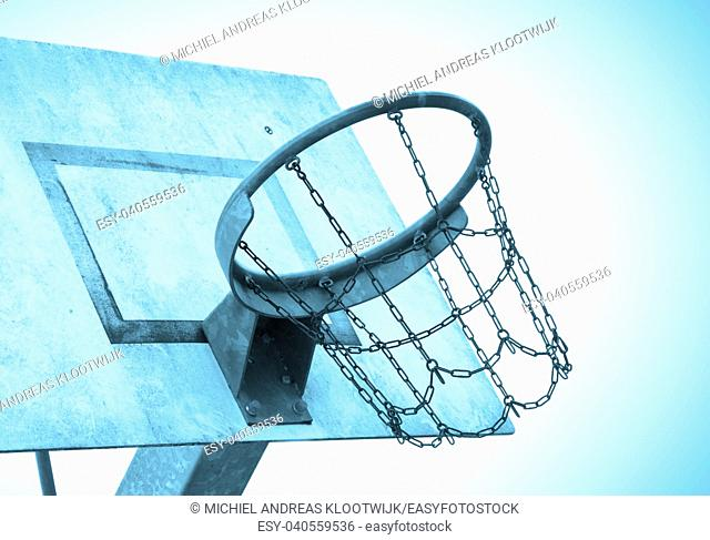 Basketball court in an old jail, the Netherlands, blue