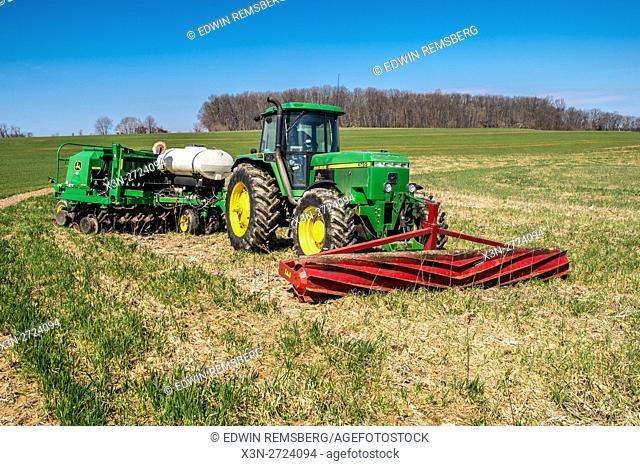 Roller Crimper on a John Deere Tractor