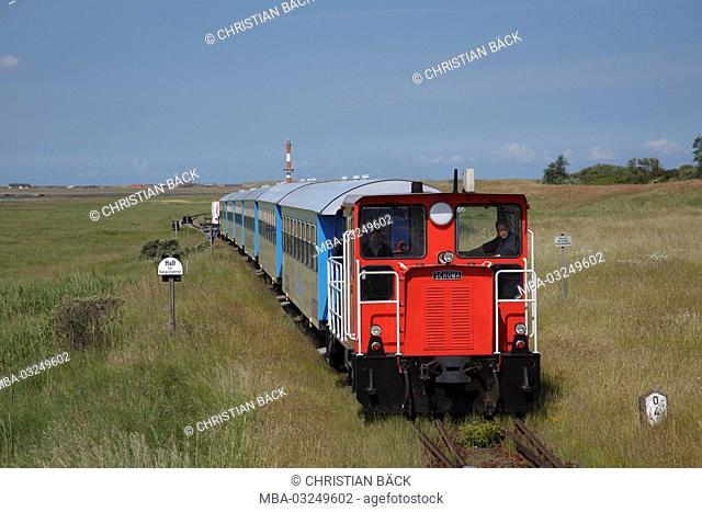 The island train on the island Wangerooge, the East Frisians, Lower Saxony, Germany, Europe