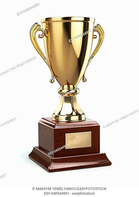Golden cup trophy isolated on white. 3d