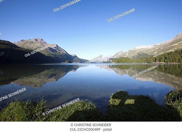 Lake surrounded by the Alps