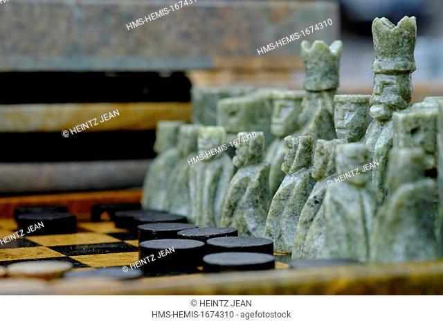 Brazil, Minas Gerais state, Ouro Preto listed as World Heritage by UNESCO, chess game in semi precious stone