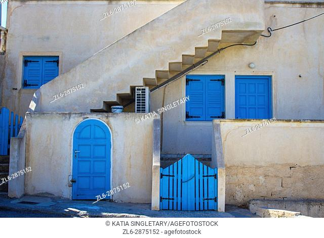House situated in the streets of Pyros the quaint medieval village in Santorini island, Cyclades, Greece