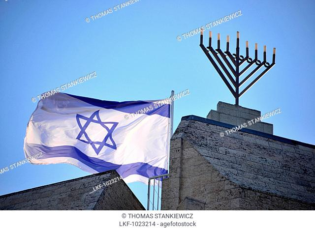 Flag and Menora, Jerusalem, Israel