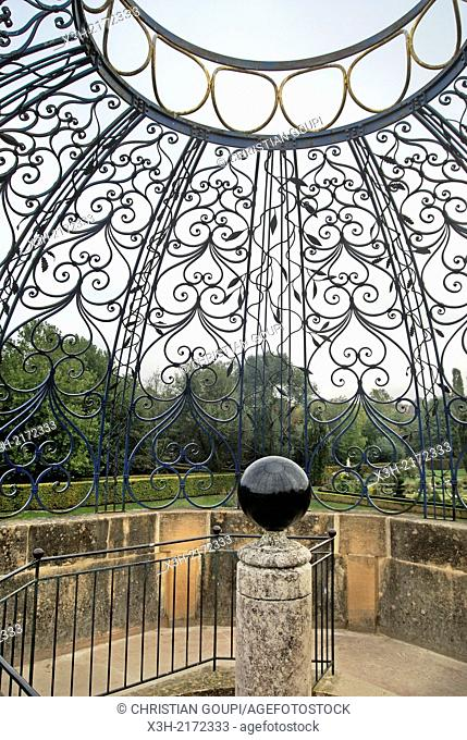 wrought iron dome by Michel et J.Y. Bouillot, iron craftsmen - 1990 in the park of the Castle of Cormatin, Saone et Loire department, Burgundy region, France