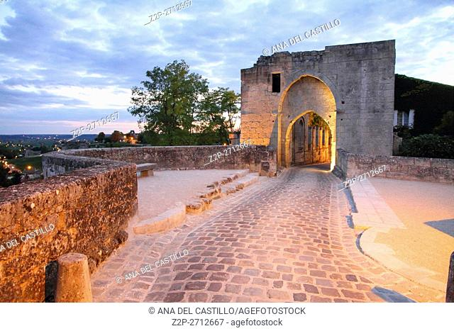 Bordeaux Saint-Emilion France La Porte Brunet, the ancient gate at dusk