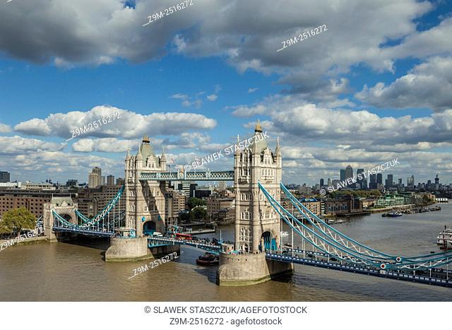 Tower Bridge and the Thames in London, England
