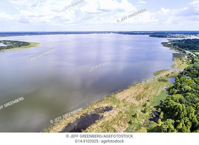 Florida, Lakeland, Lake Parker, aerial overhead bird's eye view above