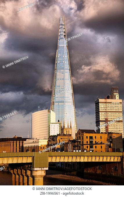 The Shard,Saints Thomas Hospital,Horshoe wharf and Southwark Cathedral,London,England