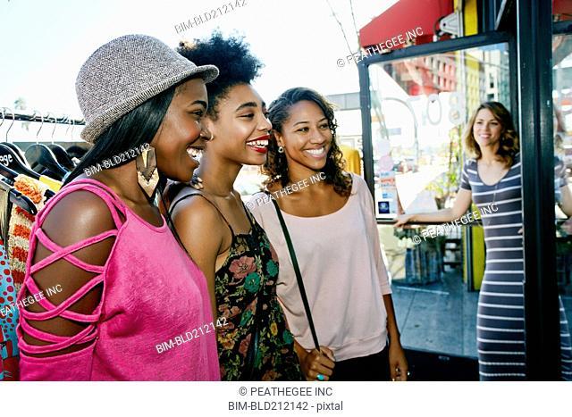 Women shopping on city street