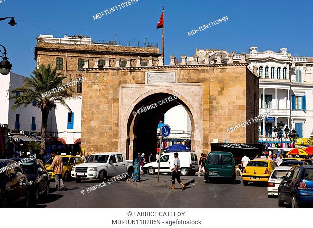 Tunisia - Tunis - Porte de France or Bab Bhar, place de la Victoire, at the entry of the medina