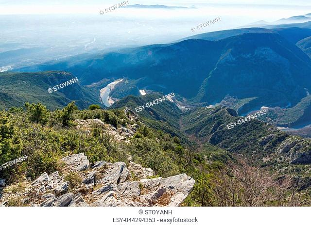 Landscape of Nestos River Gorge near town of Xanthi, East Macedonia and Thrace, Greece