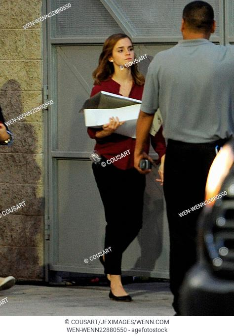 """Actress Emma Watson spotted carrying a box of pastries after a long day on the set of her new movie """"""""The Circle"""""""" filming in Azusa Ca"""
