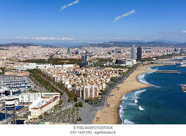 Aerial view of Barcelona coastline