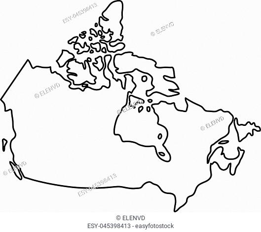 Canada map of black contour curves of vector illustration