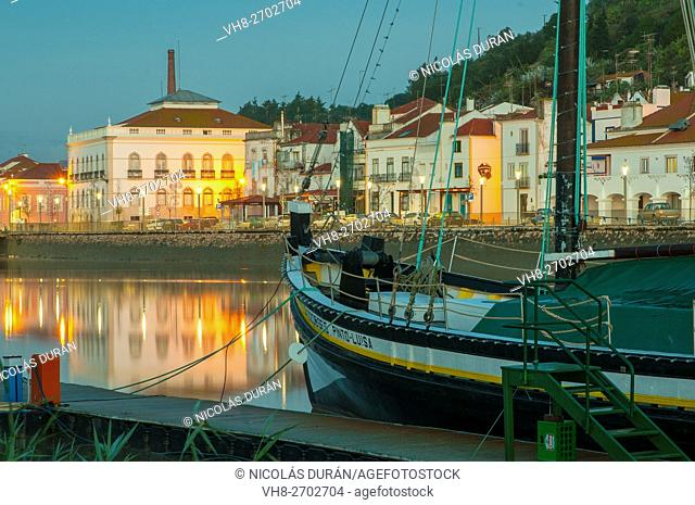 Night falls on the Sado River. Alcacer do Sal. Setubal District. Alentejo coast. Portugal