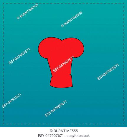 cook hat Red vector icon with black contour line. Flat computer symbol on blue background