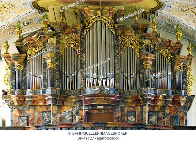 Marienweiher city of Marktleugast district of Kulmbach Upper Frankonia Bavaria Germany pilgrimage church Visitation of Mary organ