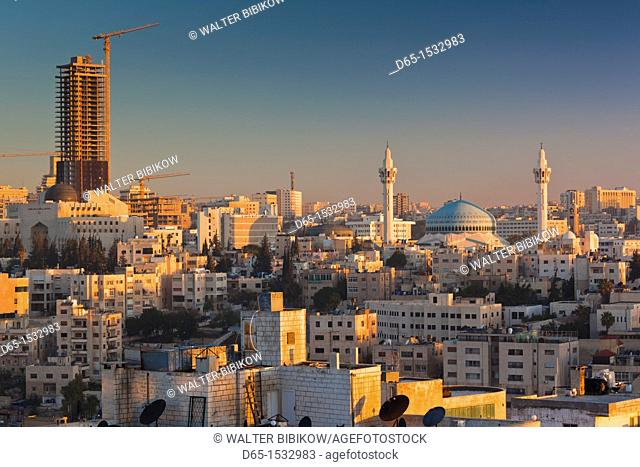 Jordan, Amman, elevated view King Abdullah Mosque, dawn
