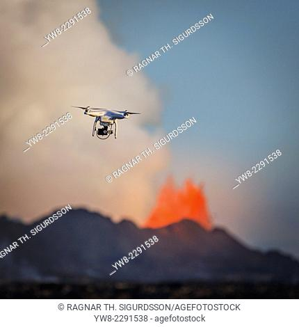 DJI Phantom 2 flying by the Holuhraun Fissure Eruption
