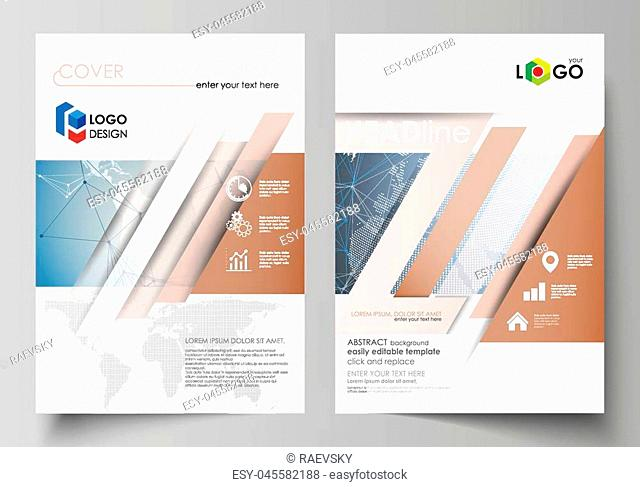 The vector illustration of the editable layout of two A4 format modern covers design templates for brochure, magazine, flyer, report