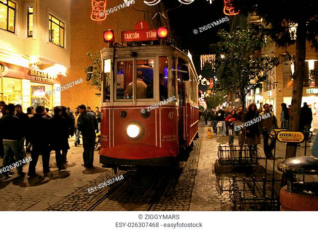 Istiklal avenue and tram in Istanbul, Turkey