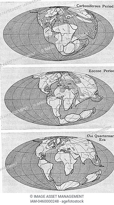 Diagram of continental drift from an article by Alfred Wegener 1880-1930on his theory of Continental Drift Wegener Hypothesis: 1915 published in 'Discovery'