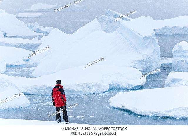 Lindblad Expeditions guests in snowstorm viewing icebergs on Petermann Island in Antarctica as part of expedition travel