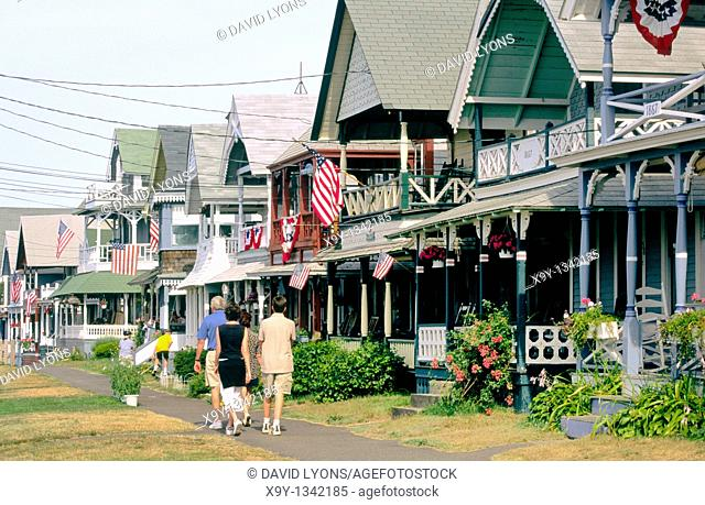 Old cottages in Trinity Park in the town of Oaks Bluff on the island of Martha's Vineyard off Cape Cod, Massachusetts, USA