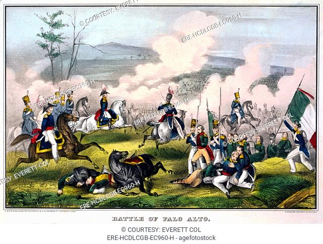 Mexican-American War. Battle of Palo Alto--May 8th 1846, between 2900 Americans, under Genl. Taylor, and 6000 Mexicans, commanded by Genl. Arista