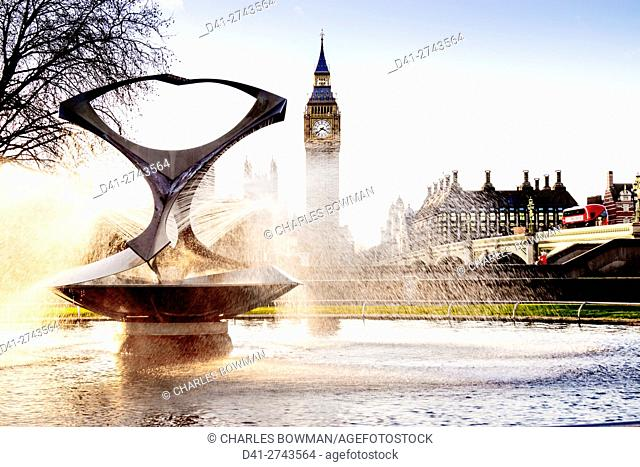 UK, England, London, Big Ben, Gabo's Fountain