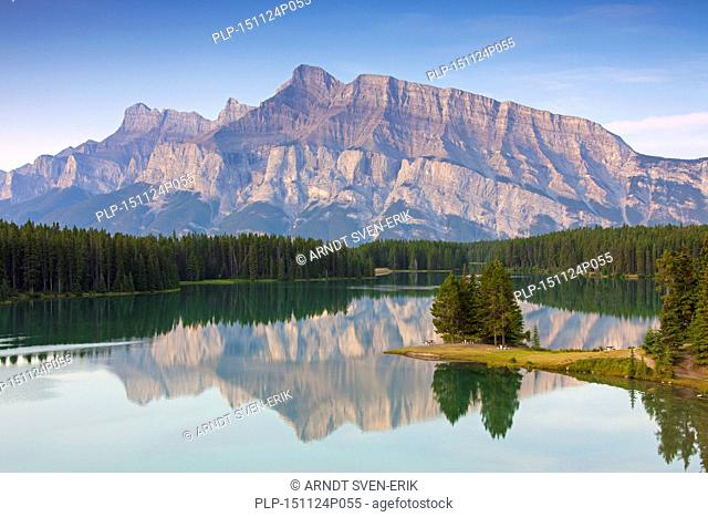 Mount Rundle and Two Jack Lake, Banff National Park, Alberta, Canadian Rockies, Canada