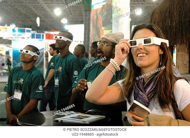 São Paulo, Brazil, people watching a 3D movie at the Salão do Turismo-Tourism Fair
