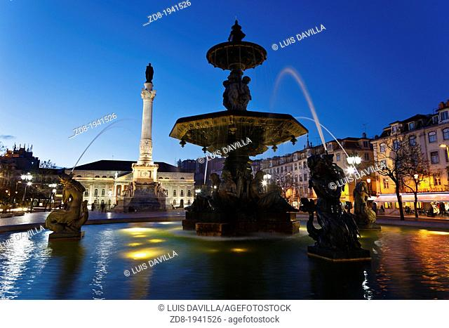 rossio square in lisbon. portugal