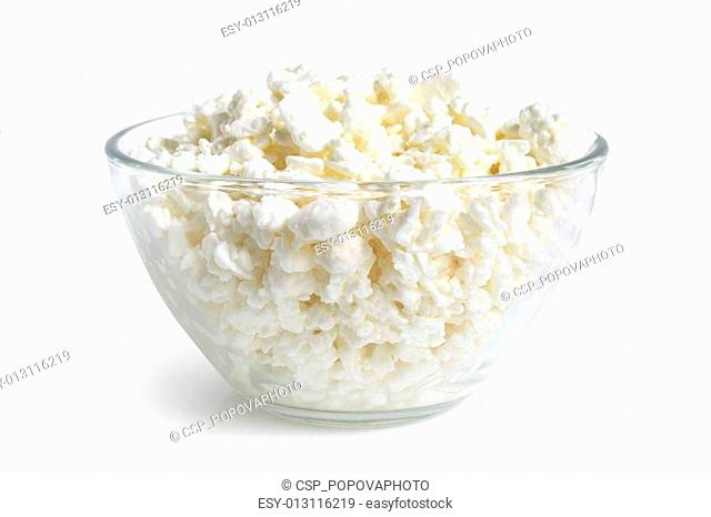 Cottage cheese in glass bowl