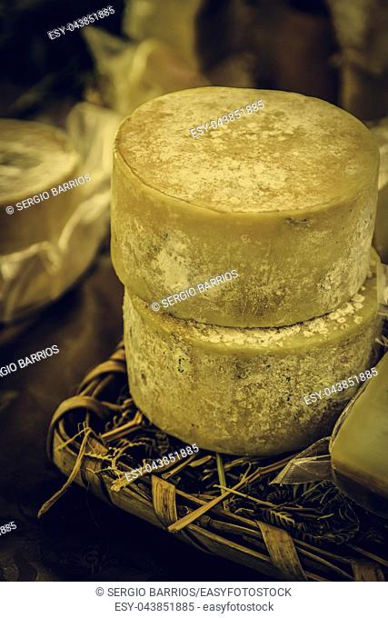 Cured old cheese, detail of dairy product