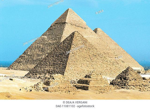 Egypt - Cairo - Ancient Memphis (UNESCO World Heritage List, 1979). Pyramids at Giza. Pyramid of Khafre (greek: Chephren)