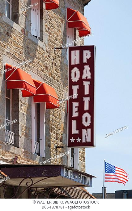France, Normandy Region, Manche Department, Avranches, detail of the Hotel Patton