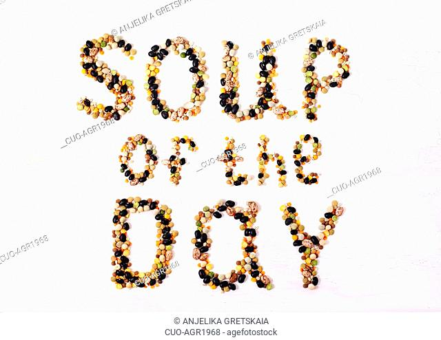 Soup of the day. Text made from various legumes. Food concept design