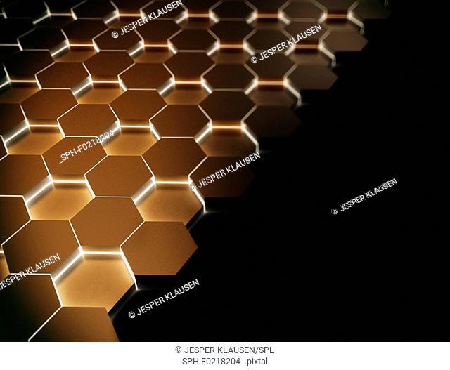 Glowing hexagons, illustration