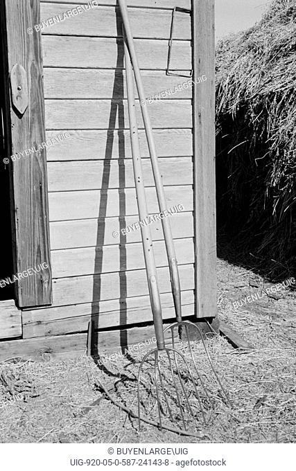 Hay forks. Northern Oregon farm. Morrow County, Oregon