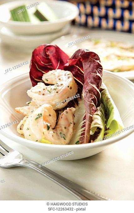 Shrimp remoulade on a bed of lettuce