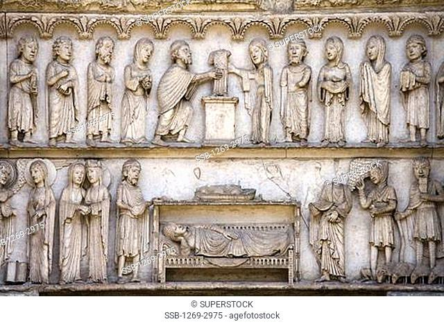 Bas reliefs on the wall of a cathedral, Chartres Cathedral, Chartres, Eure-Et-Loir, France