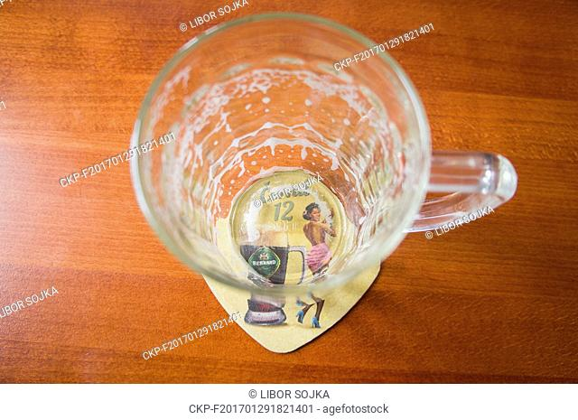 empty beer glass, half litre, beverage coaster, beermat Bernard Dark Lager, Black 12, beer mat, Prague, Czech Republic, January 29, 2017