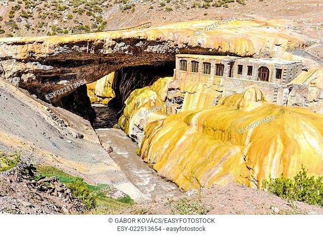 View of the golden arch of the Puente del Inca in The Andes around Mendoza, Argentina