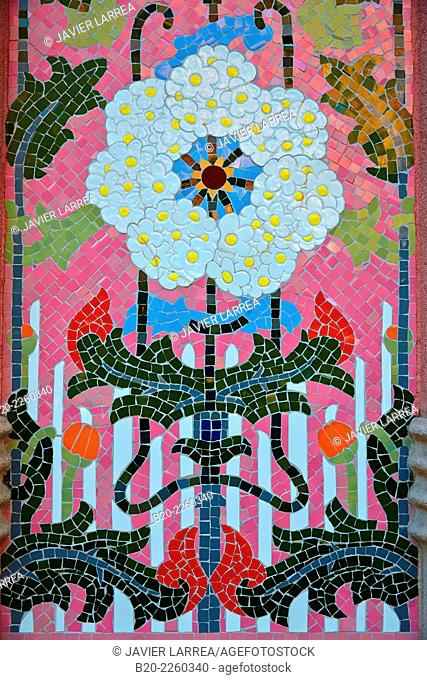 Floral mosaic, Casa Lleó Morera (1902-1906) by Lluís Domènech i Montaner. Passeig de Gracia. Barcelona. Catalonia. Spain