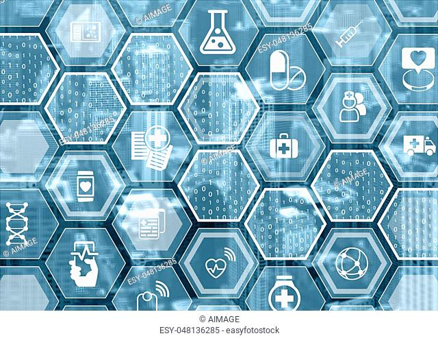Electronic e-healthcare blue and grey background with hexagonal shapes